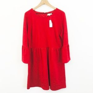 NWT! LOFT Bell Sleeve Solid Red Dress 16